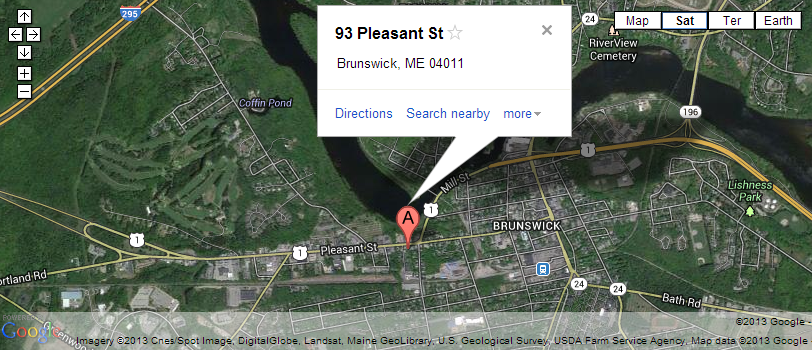 Google Map of Law Offices of Maurice Libner, 93 Pleasant Street, Brunswick, Maine.